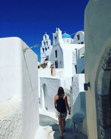 Walking in Santorini Oia
