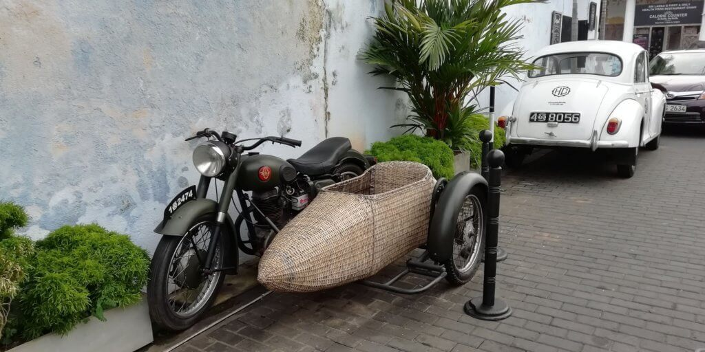Motorbike and straw side car Galle