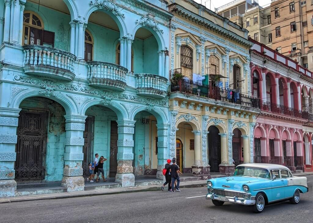 Street Car Classic Havana Cuba Buildings Backpacker Budget