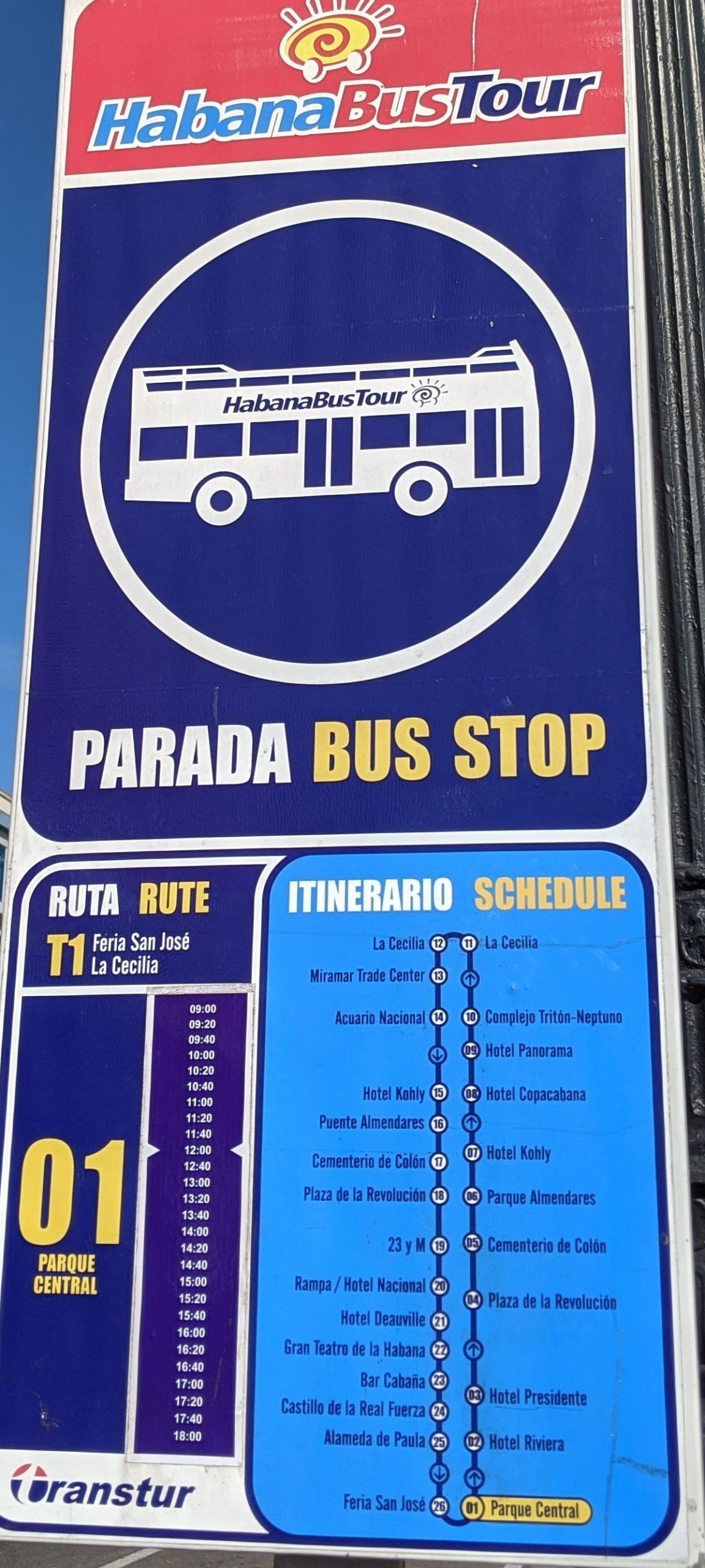 2020 timetable Havana City Tour Bus