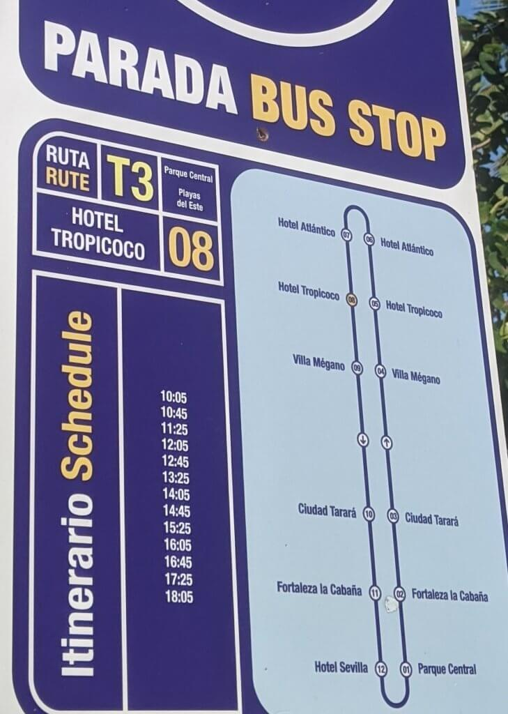 T3 Bus from Parque Central to Fort and Playas del Este 2020 Timetable Havana Cuba